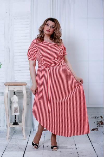 Фото Красное платье в белую полоску | 0802-2