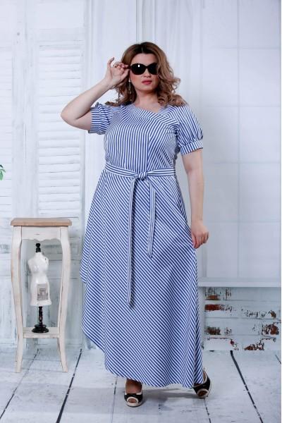 Фото Синє плаття в білу смужку | 0802-3