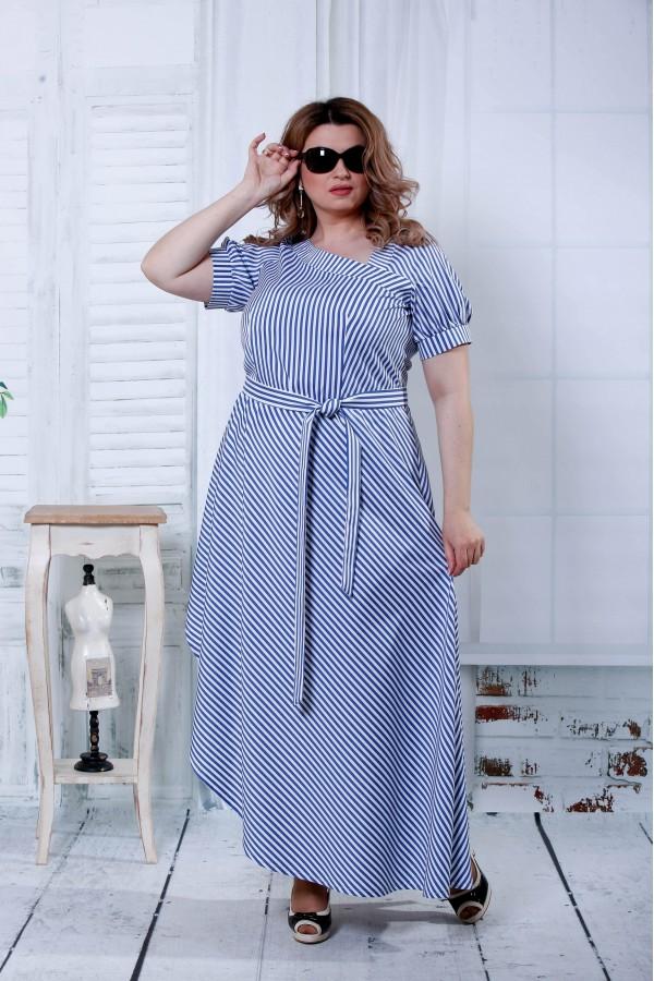 Фото Синє плаття в білу смужку   0802-3