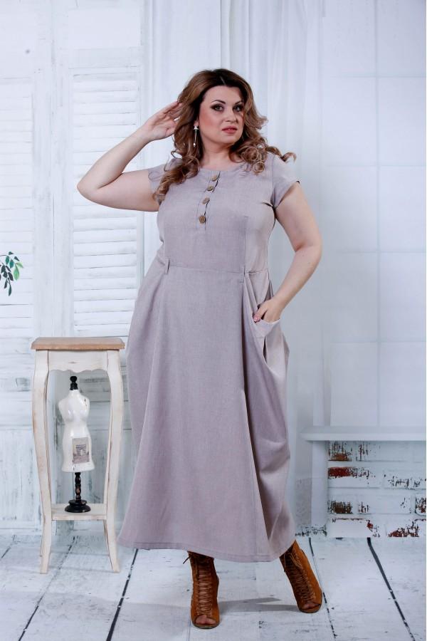 Фото Бежевое красивое платье | 0804-2