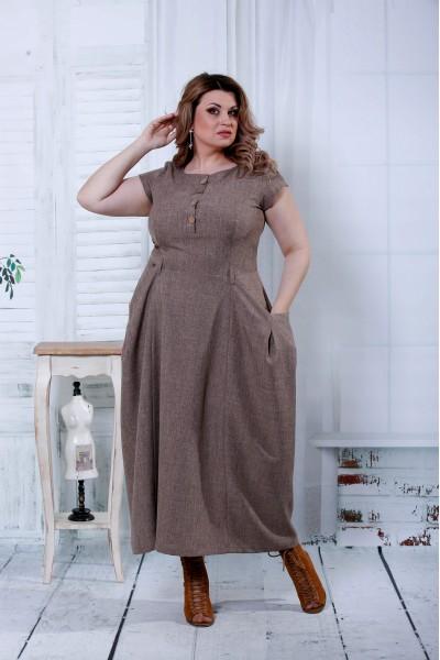 Фото Коричневе плаття максі | 0804-3