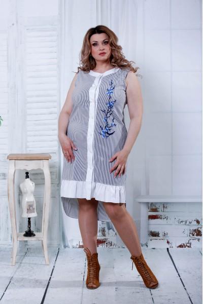 Фото Чорна сукня з синім квіткою | 0807-3