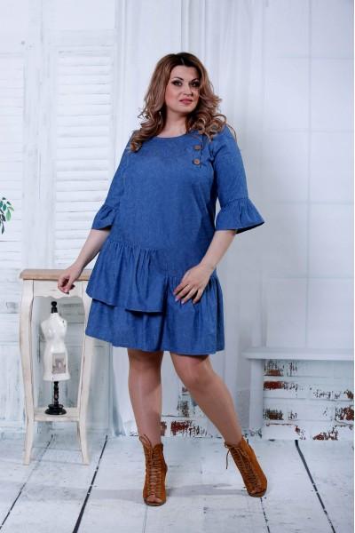Фото Сукня кольору джинс в невеликий штрих | 0808-2