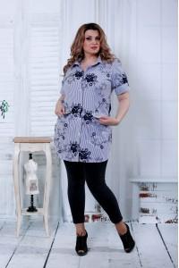Синяя блузка с черными цветами   0809-1