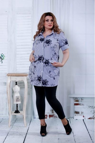 Синяя блузка с черными цветами | 0809-1