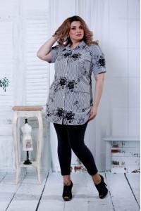 Фото Черная блузка с черными цветами | 0809-2