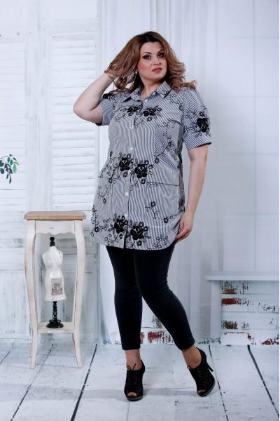 Черная блузка с черными цветами | 0809-2