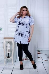 Голубая блузка с цветочным принтом   0809-3