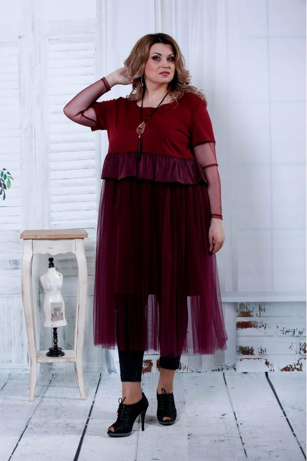 Фото Бордовое платье | 0811-2