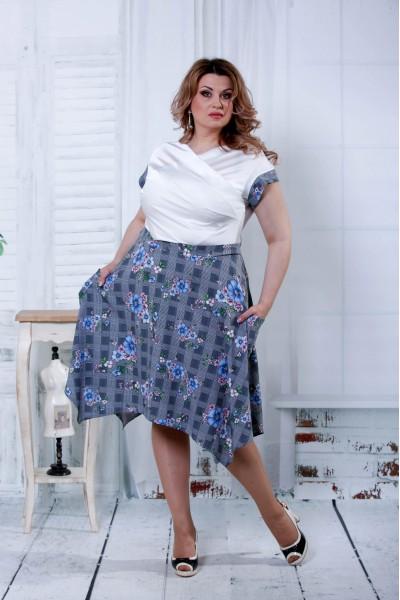 Фото Сіра сукня з синіми кольорами | 0812-2