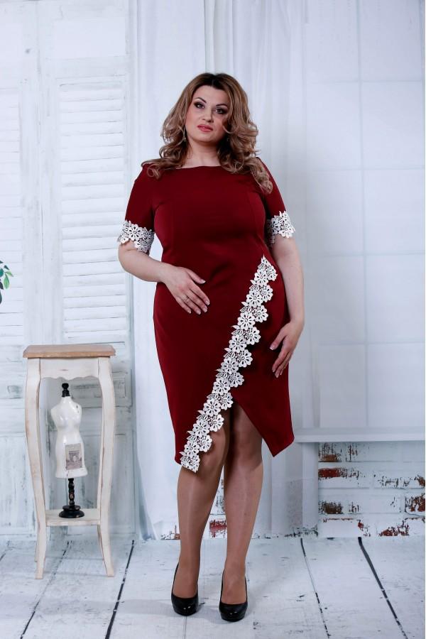 Фото Бордовое миди платье | 0813-2