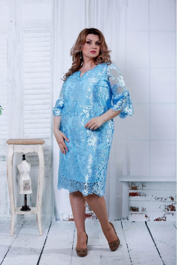 Фото Синє плаття з шифоном | 0814-1