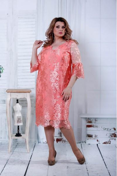 Фото Розовое платье из гипюра | 0814-2