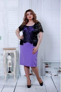 Фото Платье сиреневое с черным атласом | 0815-3