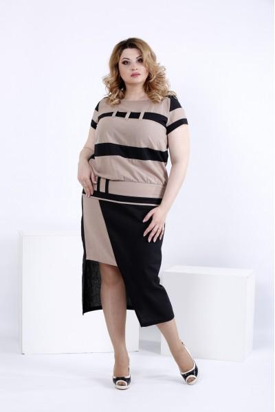 Фото Темное асимметричное платье | 0823-1