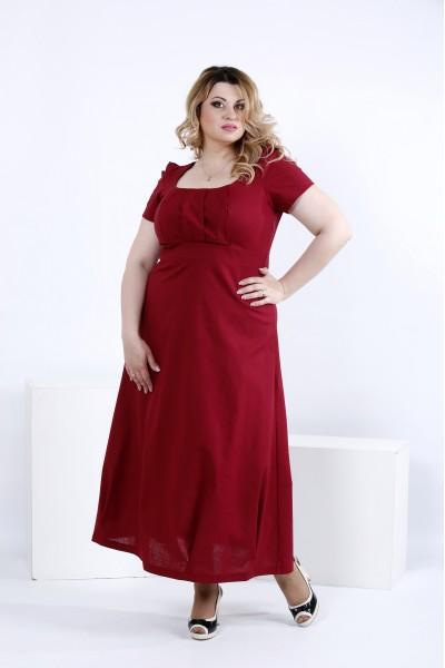 Фото Бордовое летнее платье макси | 0824-1