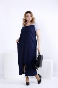 Фото Легкое синее платье мешок | 0825-1