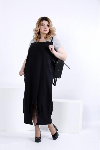 Фото Черное свободное платье | 0825-2