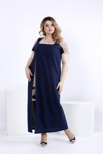 Синє плаття в підлогу | 0827-1