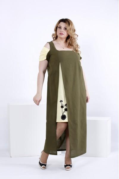 Фото Літнє плаття хакі | 0827-2