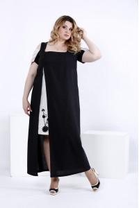 Фото Черное платье в пол с разрезом | 0827-3