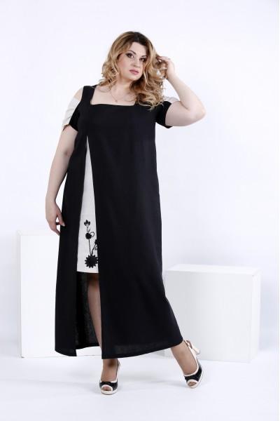 Чорна сукня в підлогу з розрізом | 0827-3