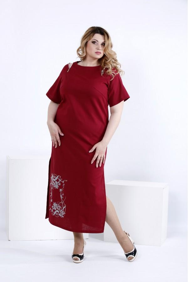 Фото Льняное платье ниже колена бордо | 0828-1