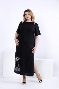 Фото Черное длинное платье для лета | 0828-2