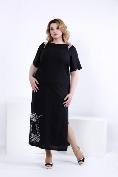 Чорне довге плаття для літа | 0828-2
