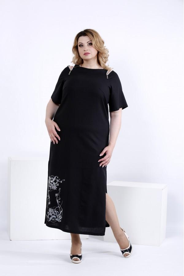 Фото Чорне довге плаття для літа | 0828-2