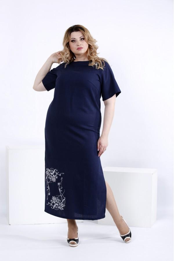 Фото Синее льняное платье в пол | 0828-3