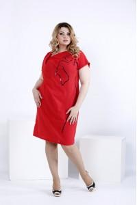 Фото Коралловое короткое платье из льна | 0829-1
