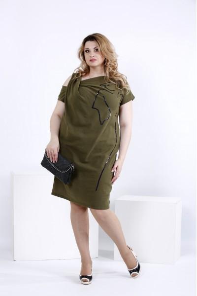 Літнє плаття кольору хакі з льону | 0829-3