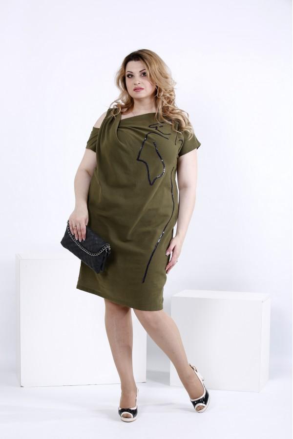 Фото Літнє плаття кольору хакі з льону | 0829-3