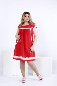 Фото Коралловое свободное льняное платье | 0833-3