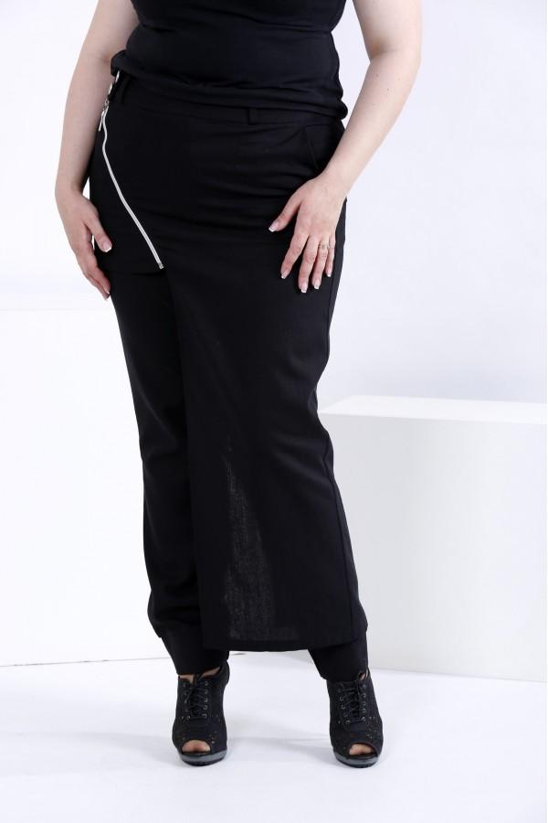 Фото Черные льняные штаны (съемная накидка) | b035-1
