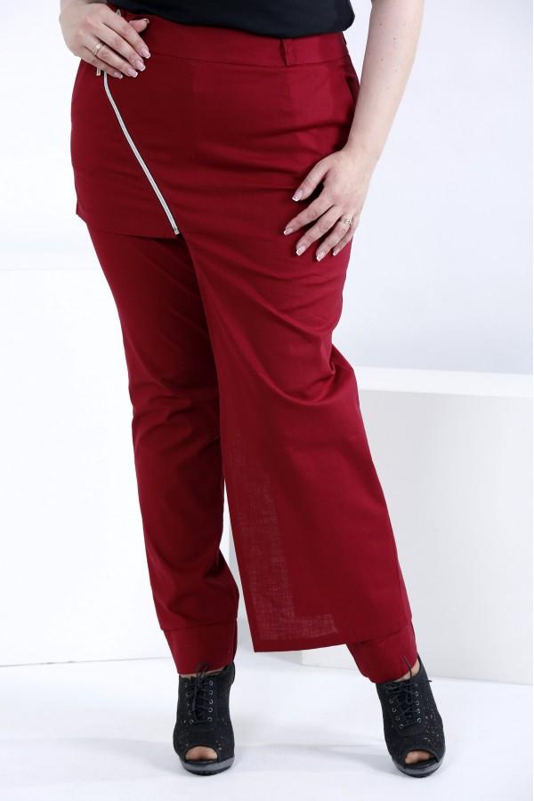 Фото Бордові легкі штани з льону (знімна накидка)   b035-2