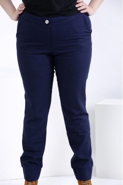 Фото Лляні штани синього кольору (знімна накидка) | b035-3