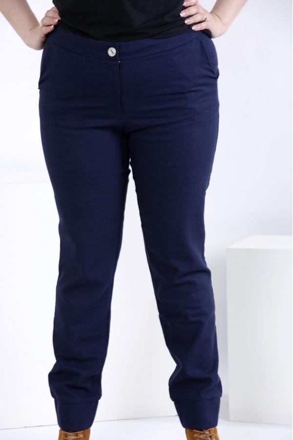 Фото Льняные брюки синего цвета (съемная накидка) | b035-3