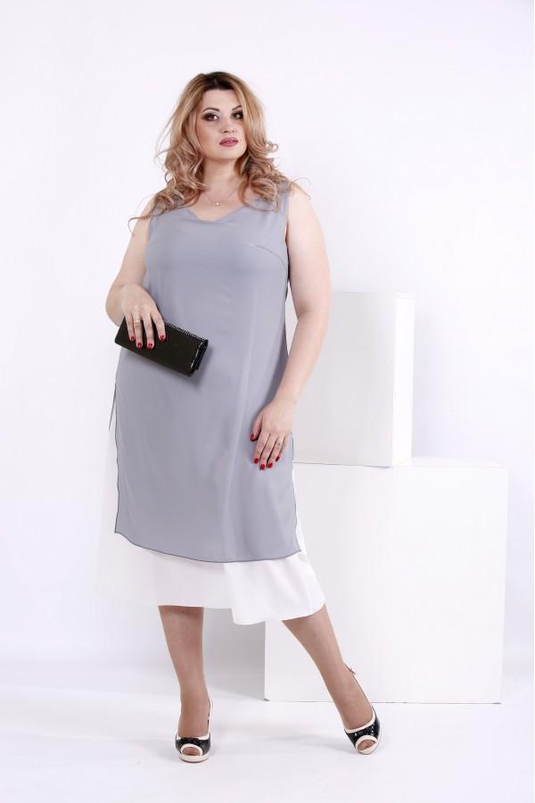 Купить Серое платье из креп-шифона | 0837-1 недорого ♥ Гарри Шоп