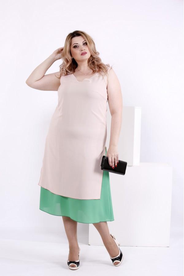Фото Літнія рожево-зелена сукня | 0837-2