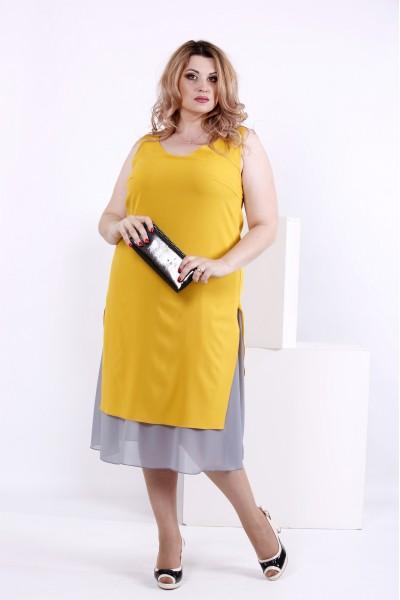 Фото Горчичное шифоновое платье | 0837-3