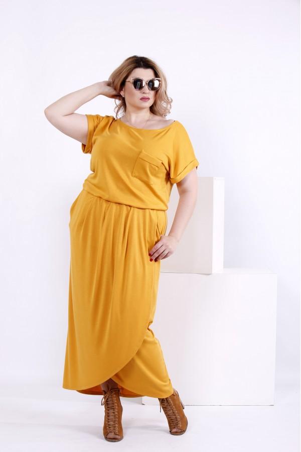 Фото Літня довга сукня гірчиця | 0839-1