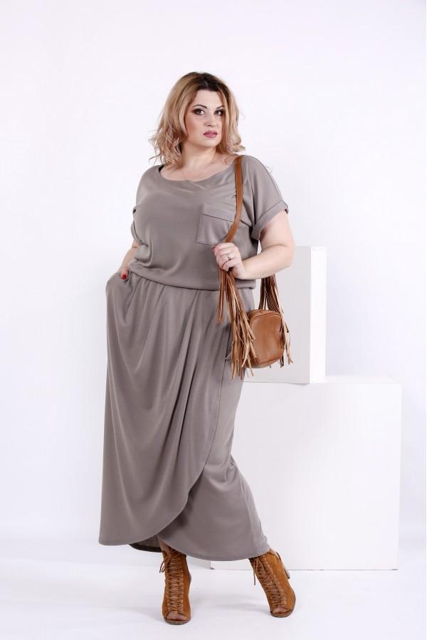 Фото Модное платье оливкового цвета | 0839-3