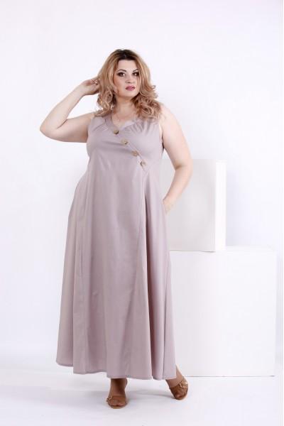 Фото Довге вільне плаття з котону | 0841-2