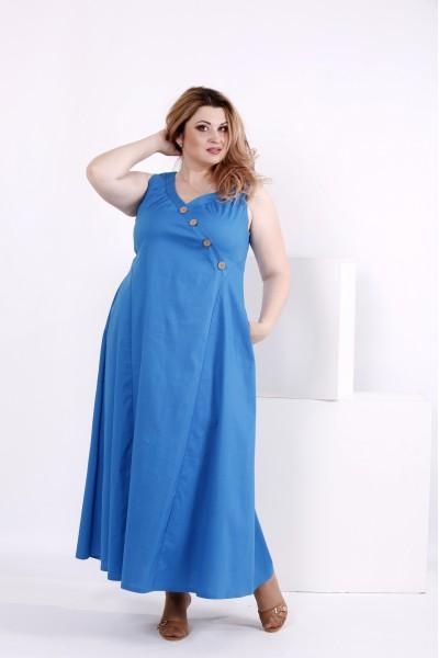 Фото Голубое летнее платье в пол | 0841-3