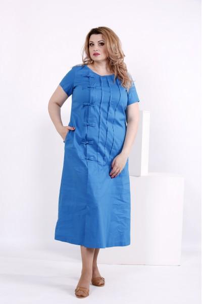 Фото Синє плаття з котону | 0842-3