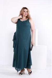 Фото Зеленое длинное шифоновое платье | 0843-1