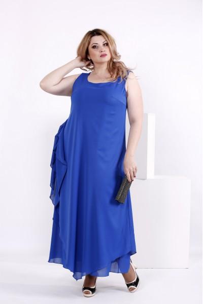 Фото Синее платье из шифона | 0843-2