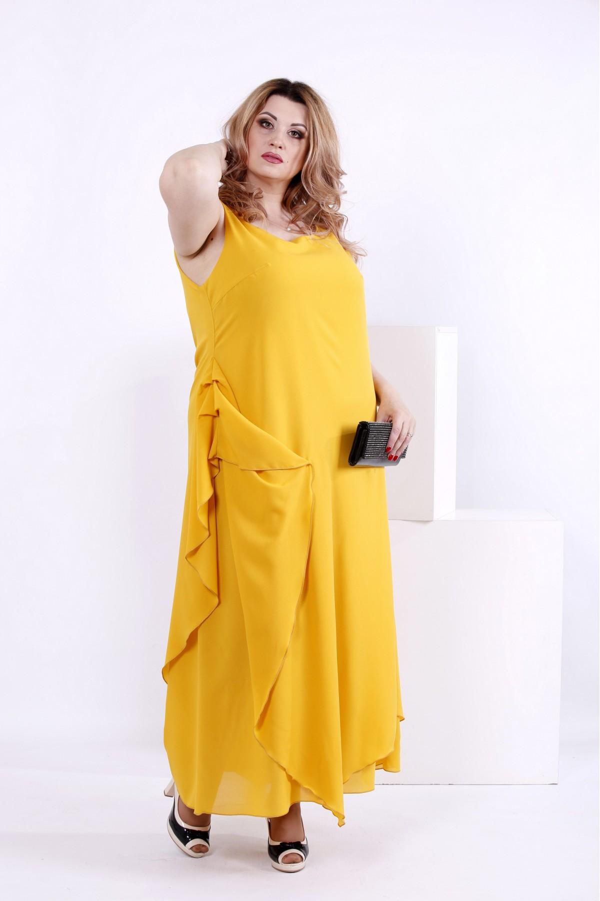 60be66d854cda6 Купити Жовте шифонове плаття | 0843-3 недорого ♥ Гаррі Шоп